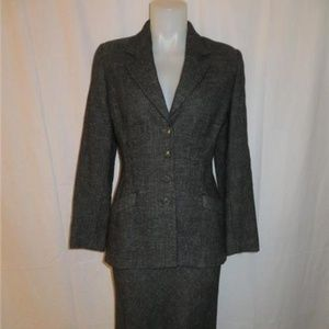 NARCISO RODRIGUEZ SMOKY BLACK & GRAY SKIRT SUIT 10